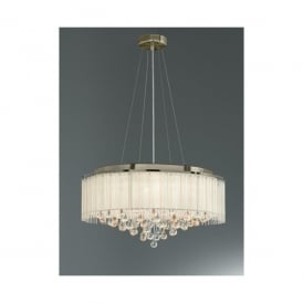 Ambience 6 Light Ceiling Pendant in Bronze And Clear Crystal Glass Finish