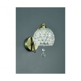 Neo Single Light Wall Fitting In Bronze Finish With Clear Dimpled Glass Shades