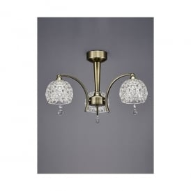 Neo 3 Light Semi Flush Ceiling Fitting In Bronze Finish With Clear Dimpled Glass Shades