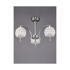 Neo 3 Light Semi Flush Ceiling Fitting In Polished Chrome Finish With Clear Dimpled Glass Shades