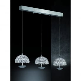 Illusion 3 Light LED Ceiling Pendant In Polished Chrome And Crystal Finish