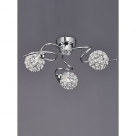 Oracle 3 Light Ceiling Fitting In Polished Chrome And Crystal Finish