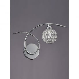 Oracle Single Light Switched Wall Fitting In Polished Chrome And Crystal Finish