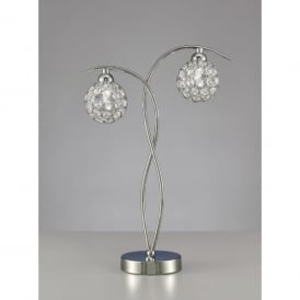 Oracle 2 Light Table Lamp In Polished Chrome And Crystal Finish