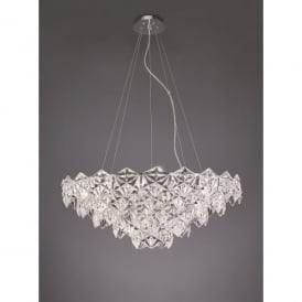 Mosaic 9 Light Ceiling Pendant In Polished Chrome Finish With Crystal Glass Shade