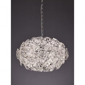 Mosaic 6 Light Ceiling Pendant In Polished Chrome Finish With Crystal Glass Shade