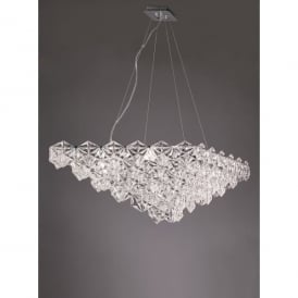 Mosaic 7 Light Ceiling Pendant In Polished Chrome Finish With Crystal Glass Shade