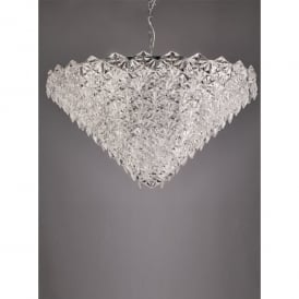 Mosaic 18 Light Ceiling Pendant In Polished Chrome Finish With Crystal Glass Shade