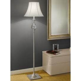 Single Light Floor Lamp In Satin Nickel Finish With White Bowed Drum Shade