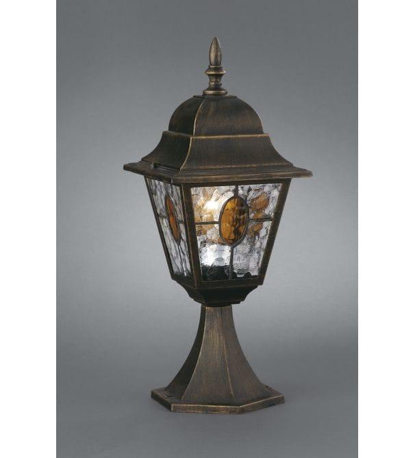 Dark Verdigris Green Ornate Pedestal Light: Massive Munchen Outdoor Black Pedestal Light