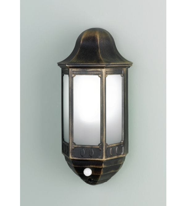 Elstead Lighting Azure Low Energy Black Or Black Gold Outdoor Light With PIR