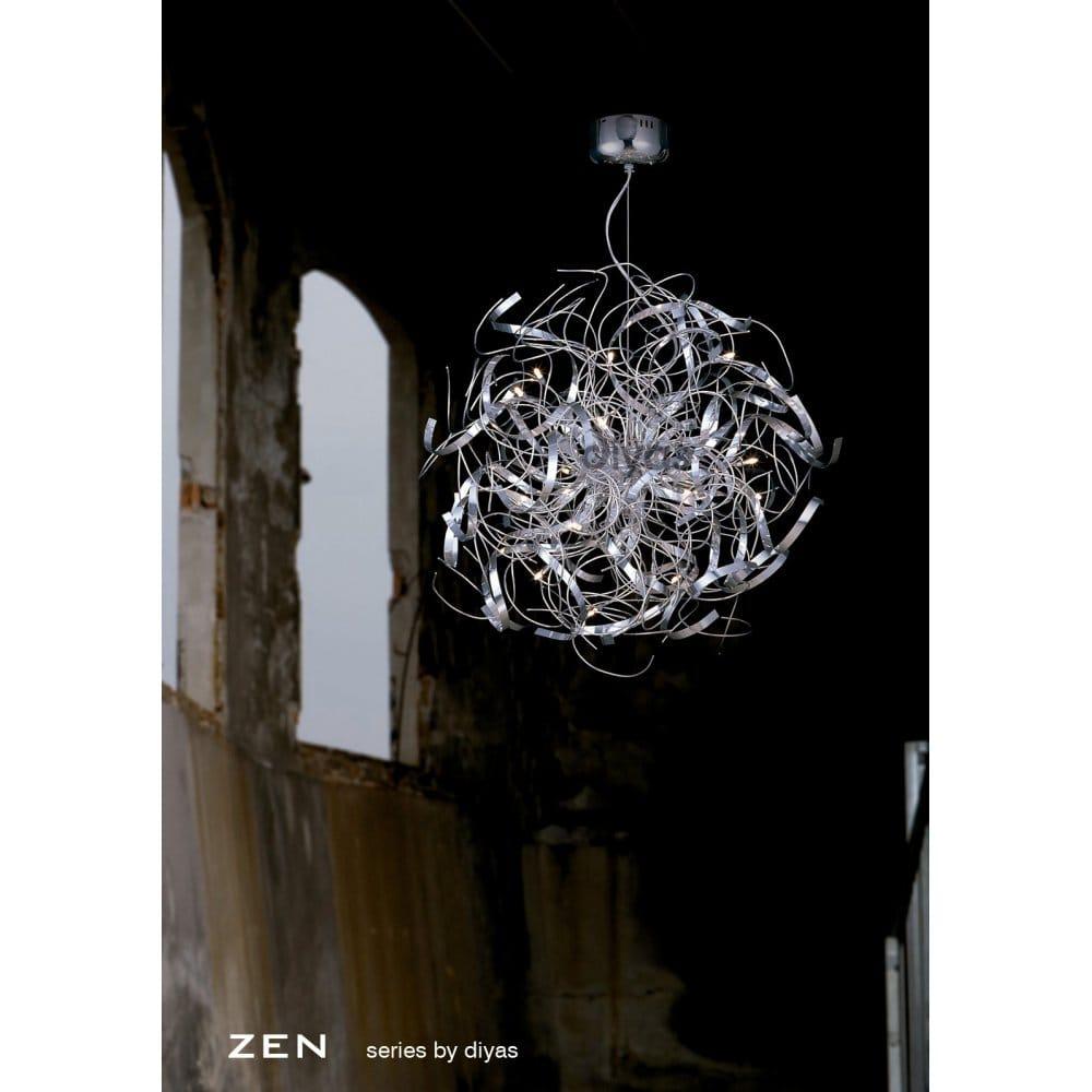 Diyas Zen 16 Light Aluminium Amp Polished Chrome Ceiling