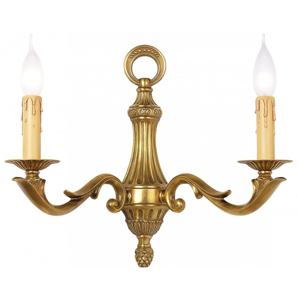 Chelsea Brass Double Wall Light In 4 Finishes - from Castlegate Lights UK