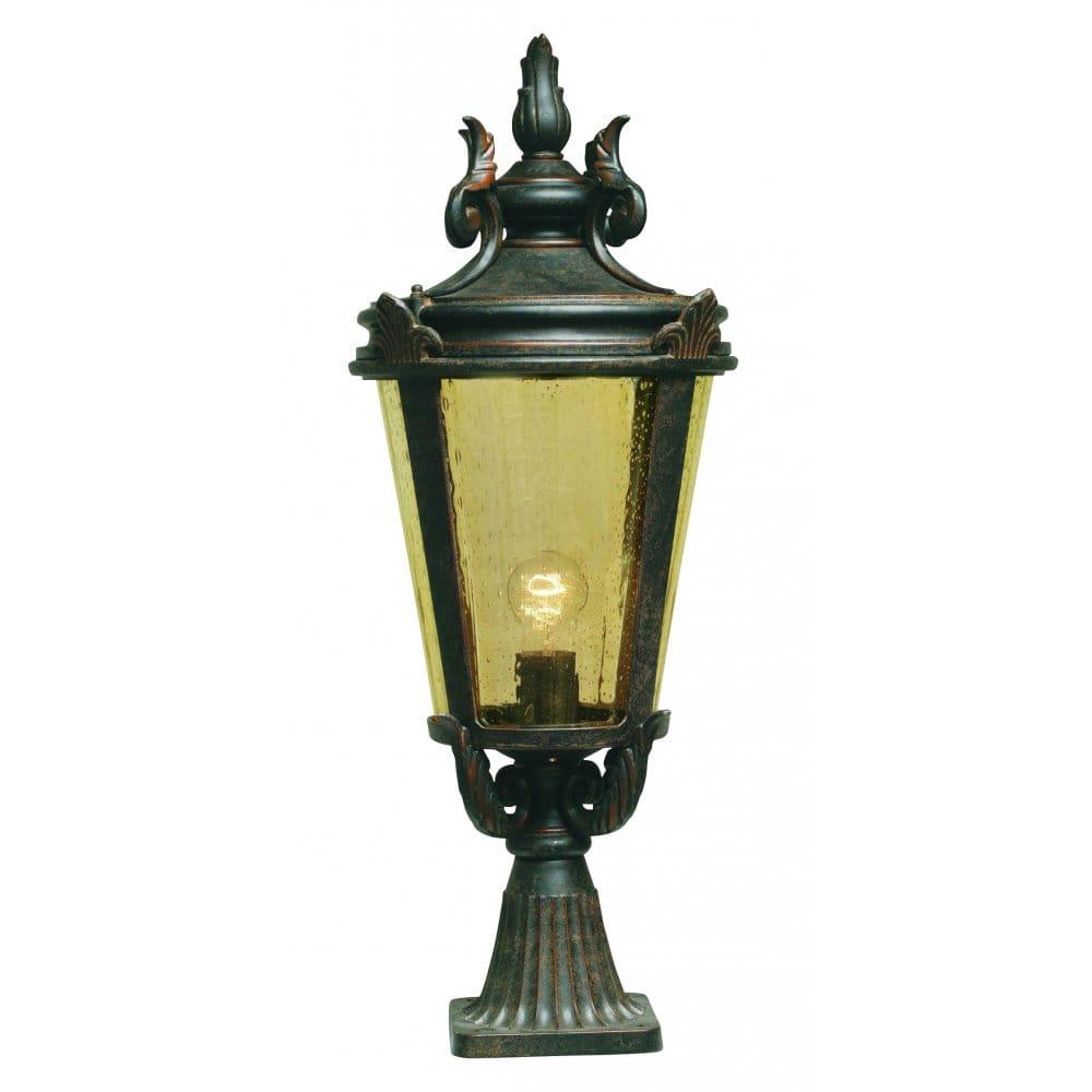 Dark Verdigris Green Ornate Pedestal Light: Elstead Lighting Baltimore Single Light Large Outdoor