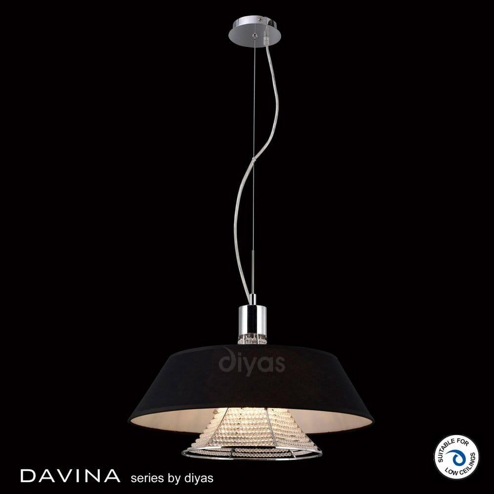 Diyas Davina 3 Light Ceiling Pendant With Black Fabric Shade Diyas From Cas