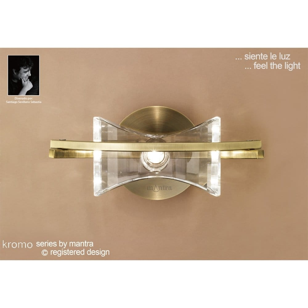 Mantra Kromo Single Halogen Wall Light in Antique Brass - Mantra from Castlegate Lights UK