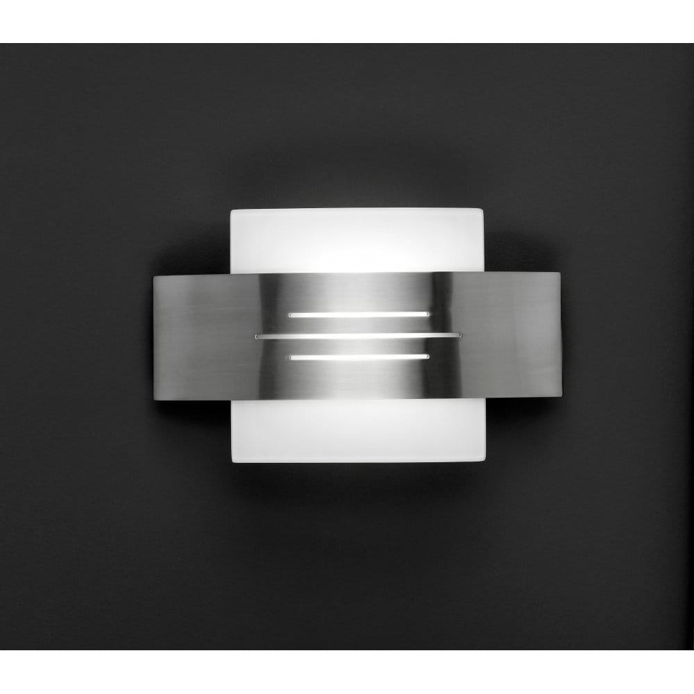 Wofi Vetro Matt Nickel Halogen Wall Light With Opal Glass - Wofi from Castlegate Lights UK