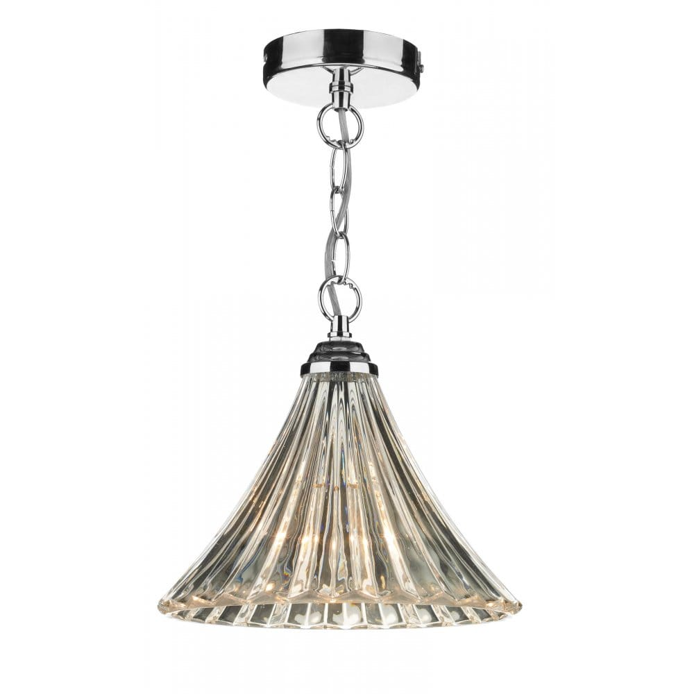 Dar Lighting Ardeche Fluted Glass Ceiling Pendant