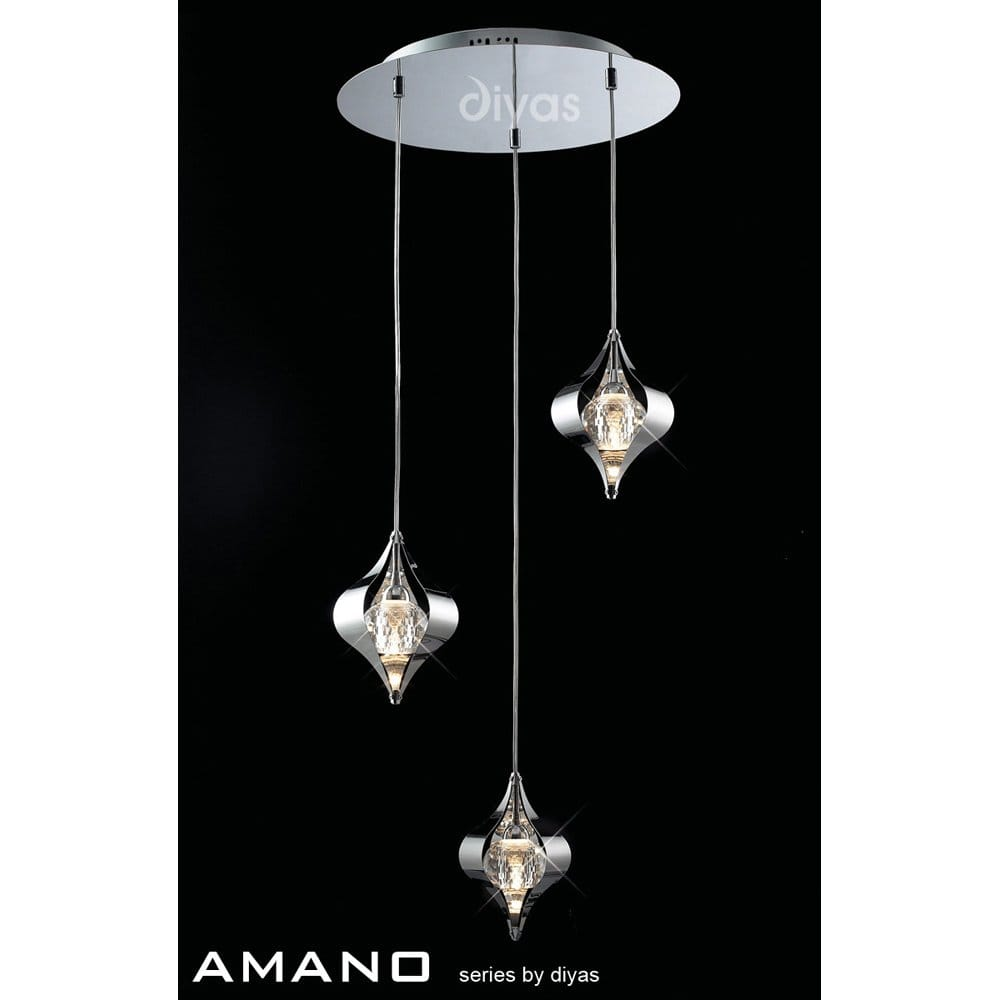 diyas amano 3 light halogen ceiling pendant in stainless