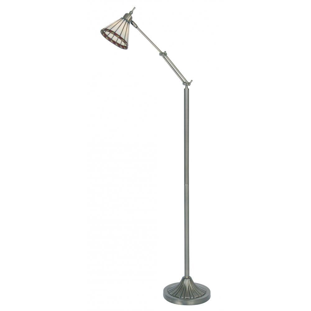 Oaks lighting antique brass floor lamp with tiffany glass for Brass floor lamp with adjustable arm