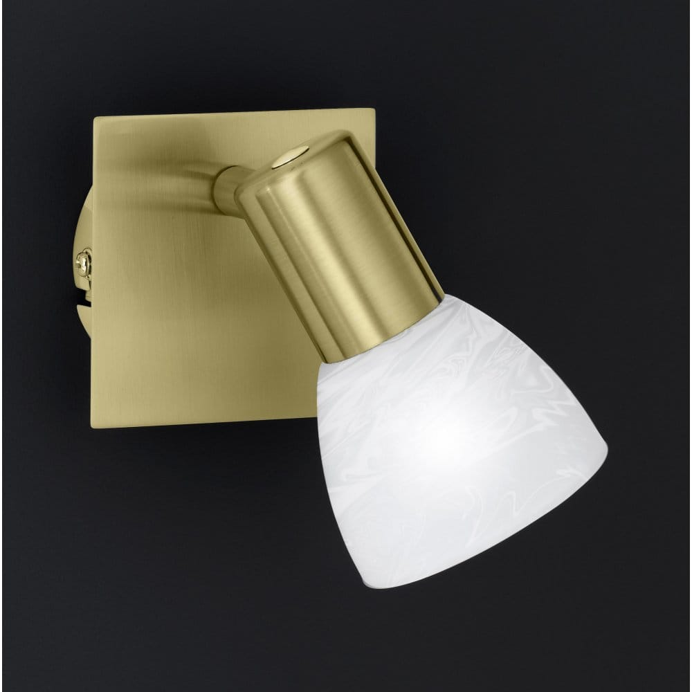 Wofi Angola Matt Brass Single Switched Wall Light - Wofi from Castlegate Lights UK