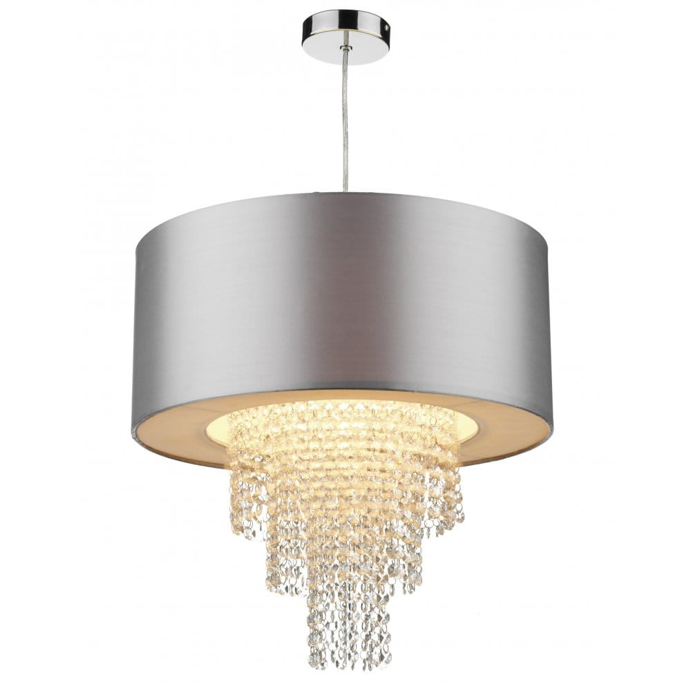 Lamp Shades For Ceiling Lights: Dar Lighting Lopez Ceiling Light Shade With Silver Faux