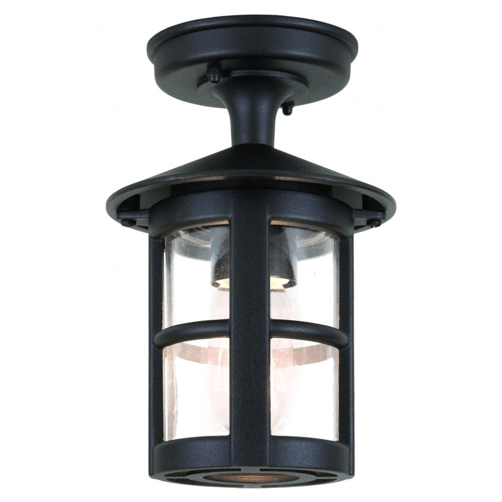 Elstead Lighting Hereford Single Light Outdoor Semi Flush Ceiling Lantern In