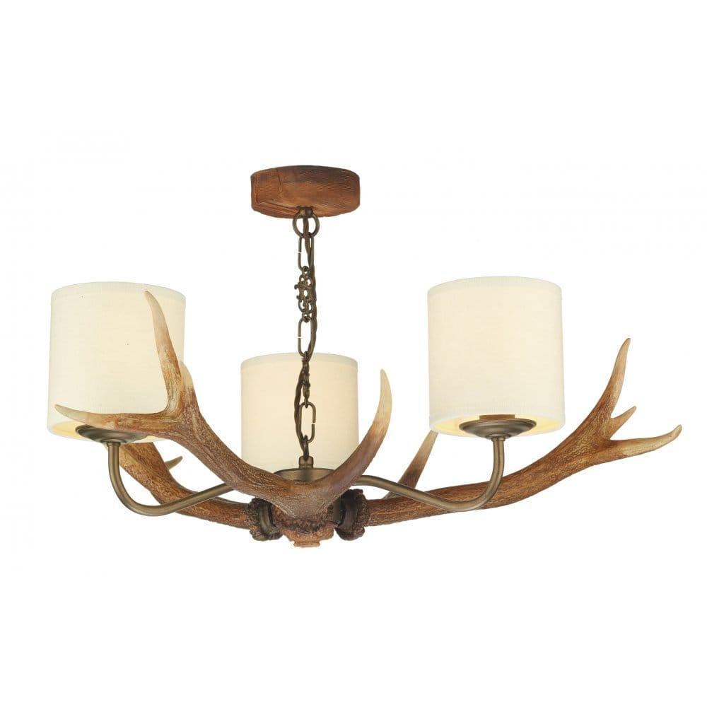 David hunt lighting antler 3 light ceiling fitting with cream shades david hunt lighting from