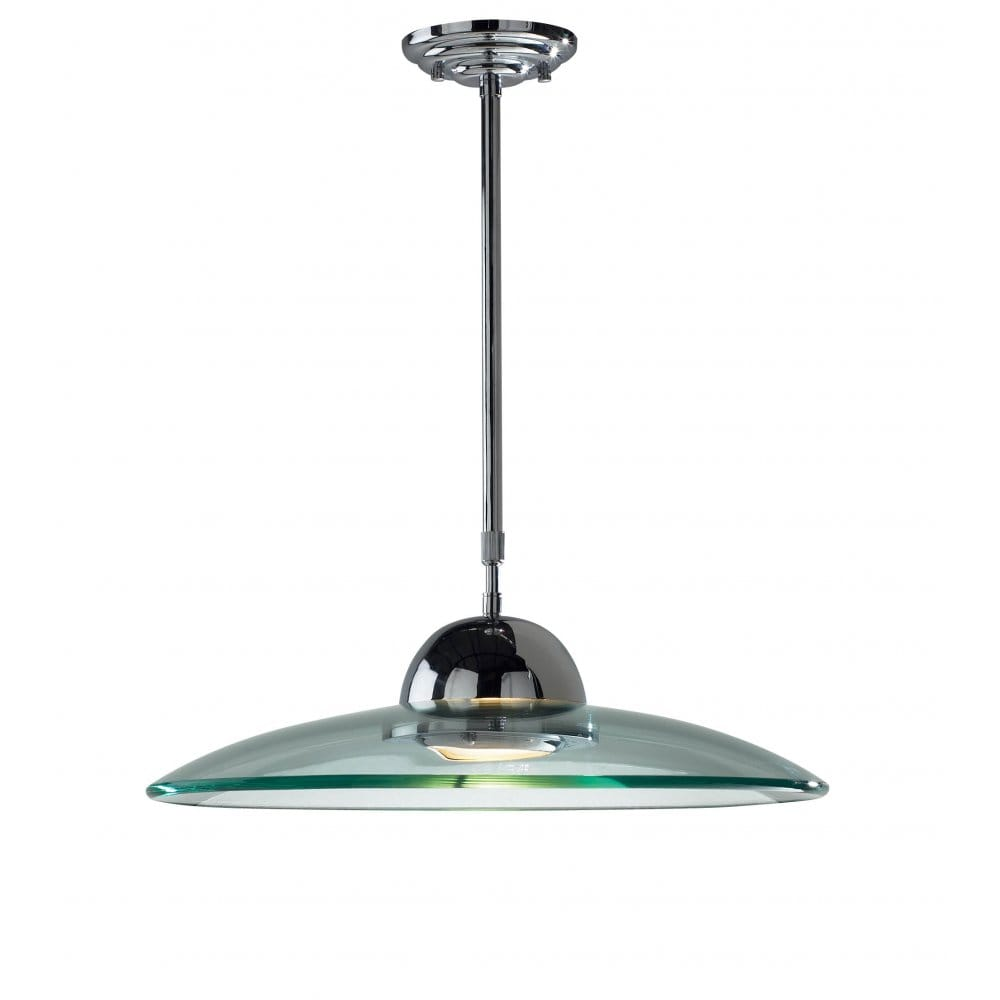Dar Lighting Hemisphere Chrome Halogen Glass Pendant