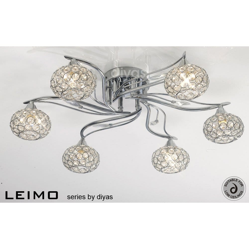Diyas Leimo 6 Light Semi Flush Ceiling Fitting In Chrome Finish Diyas From