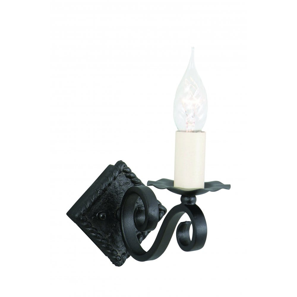 elstead lighting rectory hand forged black single wall light elstead