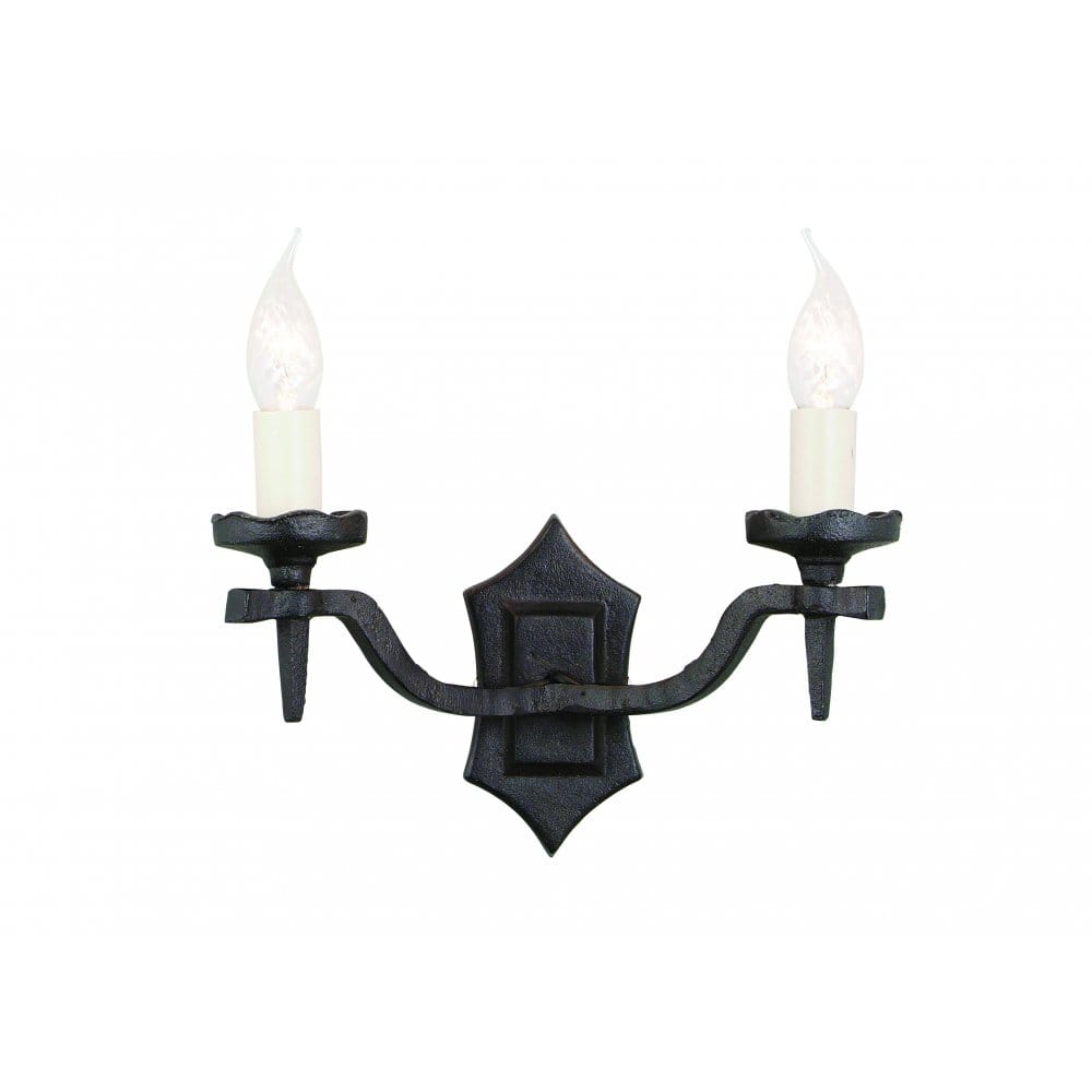 Elstead Lighting Rectory Hand-forged Black Double Wall Light - Elstead Lighting from Castlegate ...