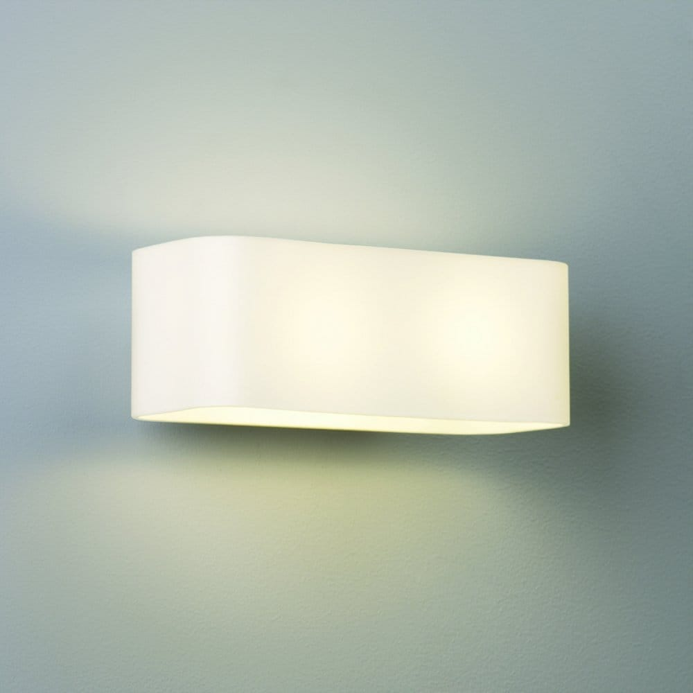 Clear Glass Shades For Wall Lights : Astro Lighting Obround 2 Light Wall Fitting with White Glass Shade - Astro Lighting from ...