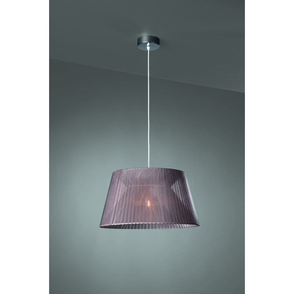 Grey Fabric Wall Lights : Massive Fleuro Single Light Ceiling Pendant in Polished Chrome Finish with Grey Fabric Shade ...
