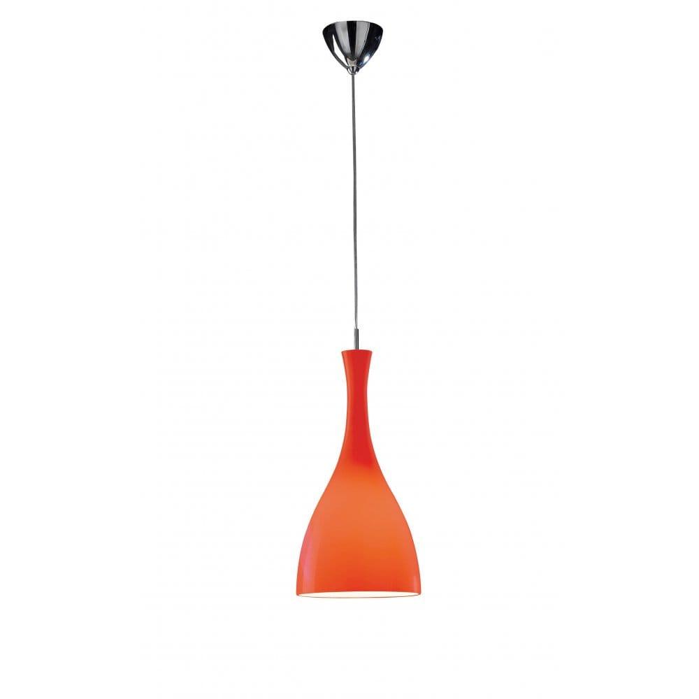 Dar Lighting Tone Single Light Red Ceiling Pendant