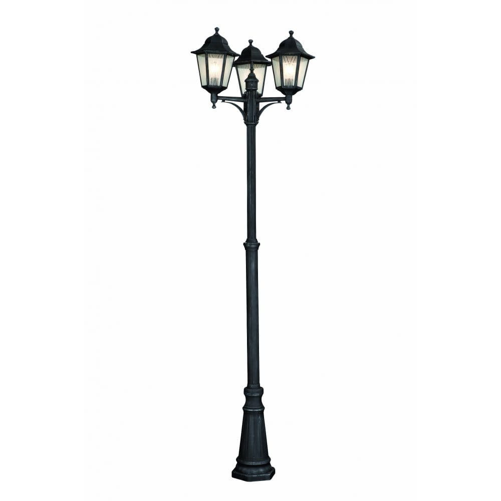 massive toulouse 3 light outdoor lamp post in grey finish. Black Bedroom Furniture Sets. Home Design Ideas