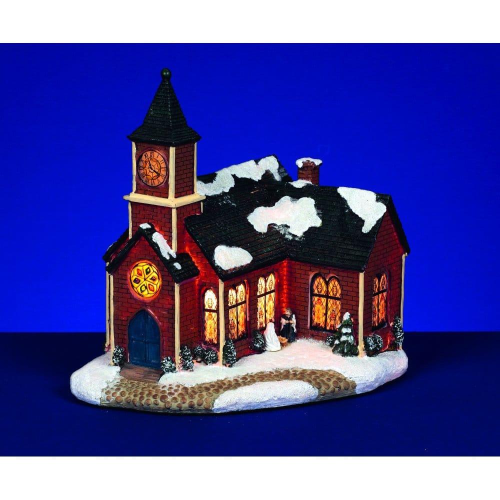 Premier Decorations Illuminated Snowy Church With Clock