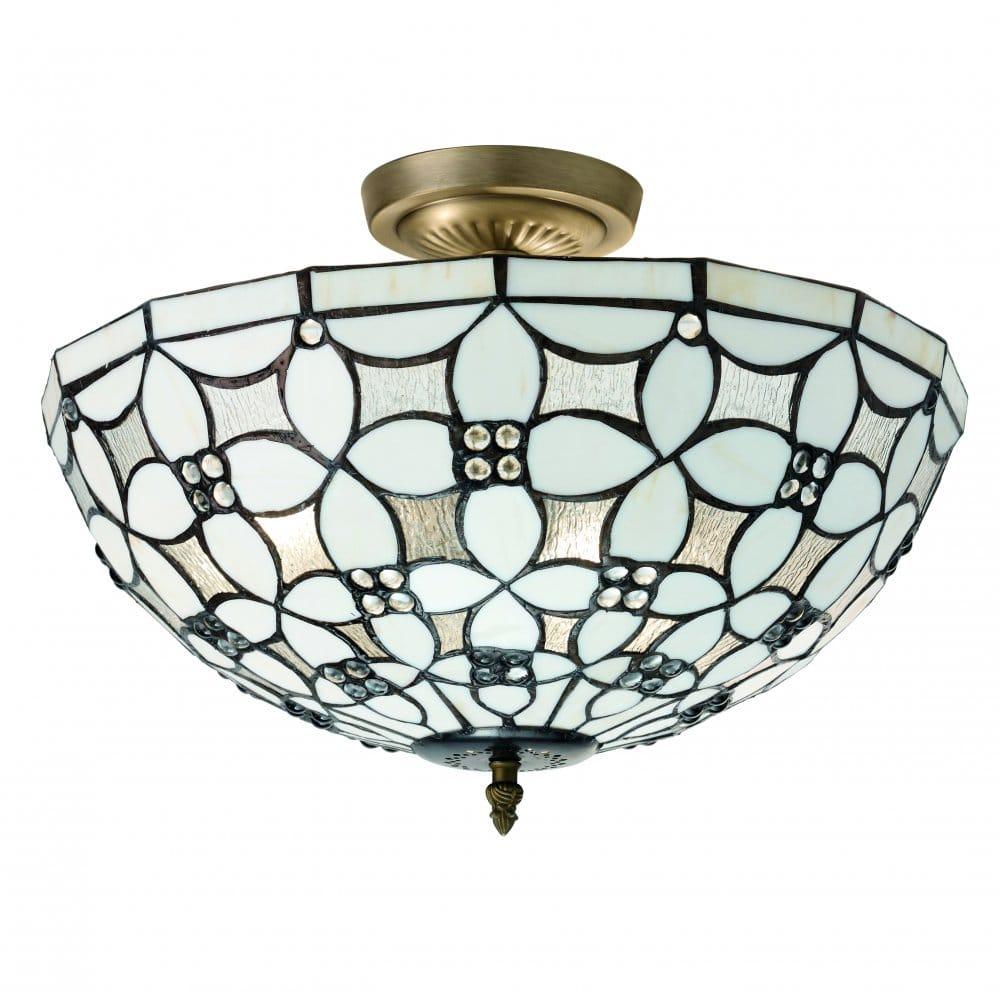 Searchlight Lighting Fleur De Lis 3 Light Tiffany Ceiling