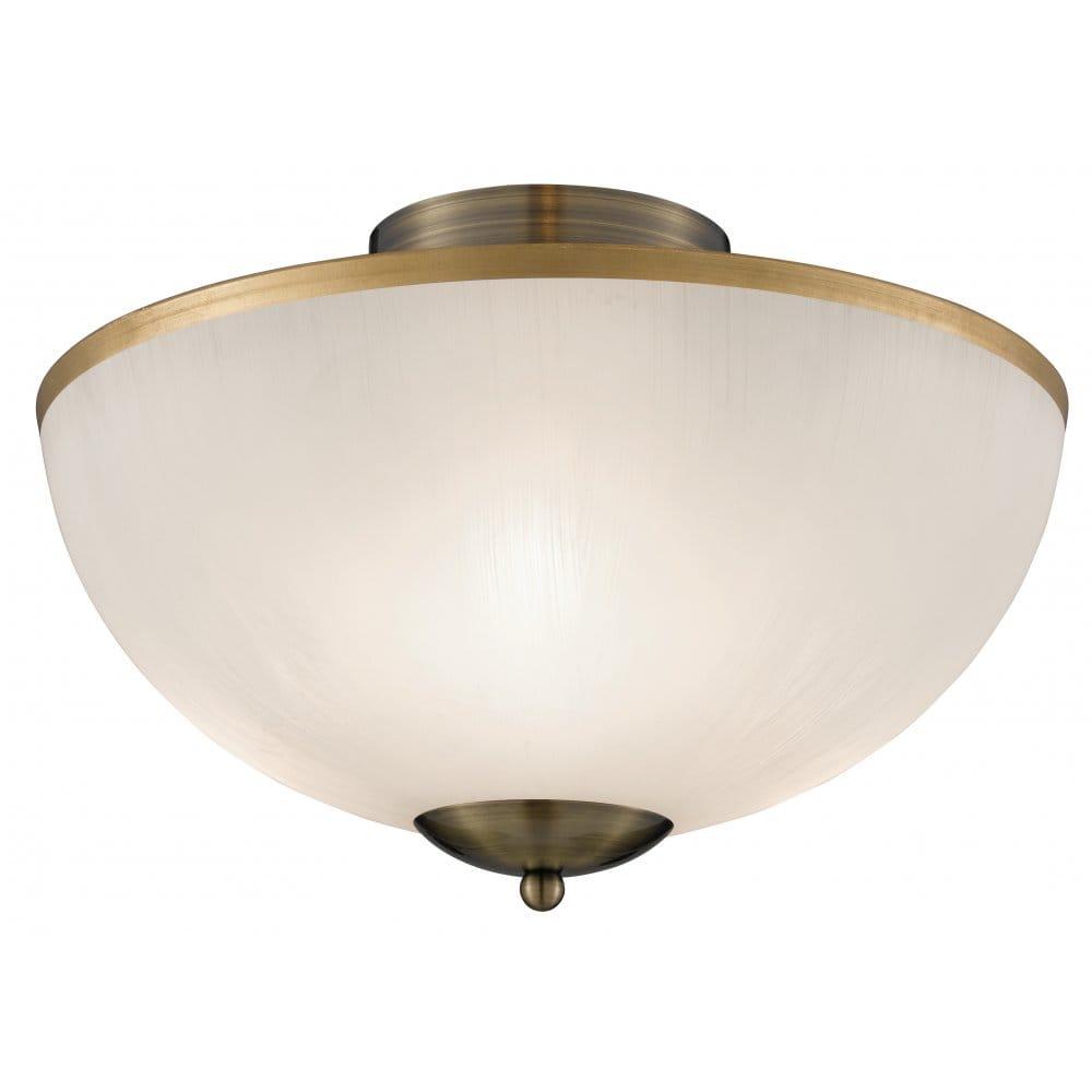 Brass Finish Ceiling Lights : Searchlight lighting brahama light semi flush ceiling