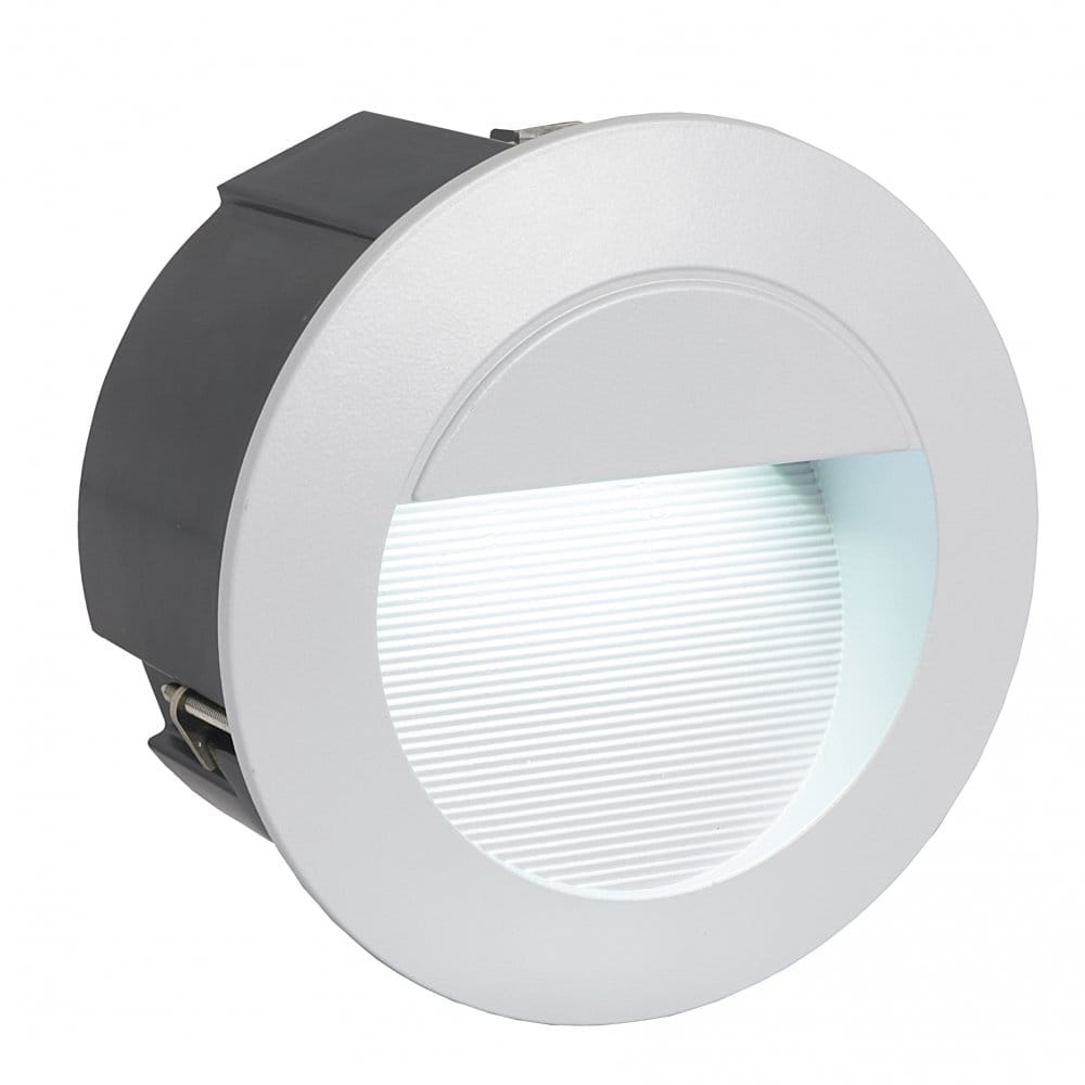 Eglo Lighting Zimba LED Recessed Outdoor Wall Fitting In Silver Finish Eglo