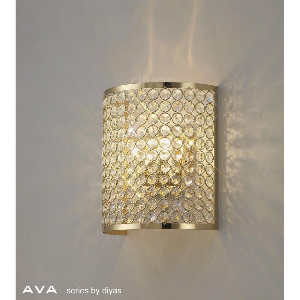 Diyas Ava 2 Light Crystal Wall Fitting in French Gold Finish - Diyas from Castlegate Lights UK