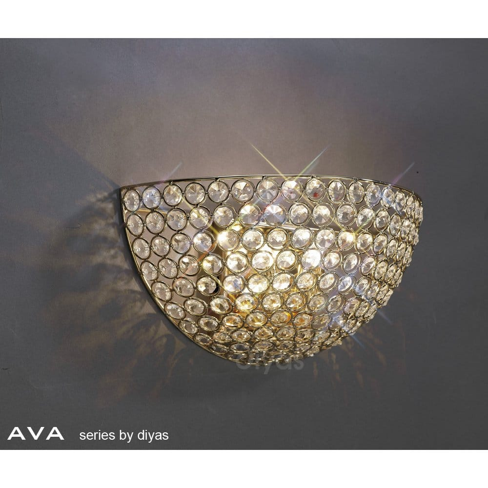 Crystal Look Wall Lights : Diyas Ava 2 Light Wall Washer Style Crystal Fitting in French Gold Finish - Diyas from ...