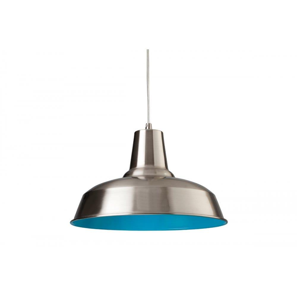 Firstlight smart single light ceiling pendant in brushed steel with a blue interior firstlight - Interior smart lighting ...