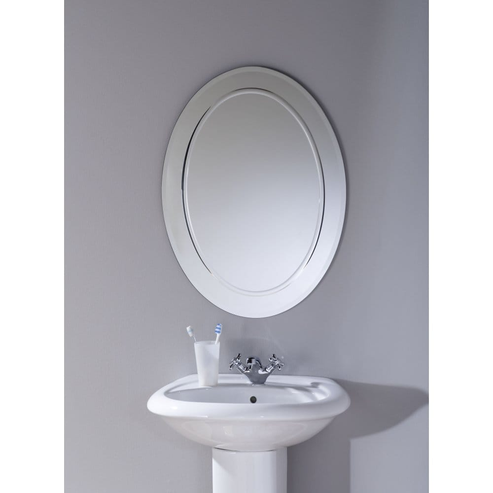 Endon lighting lamprinos oval bathroom mirror with inner for Oval bathroom mirrors
