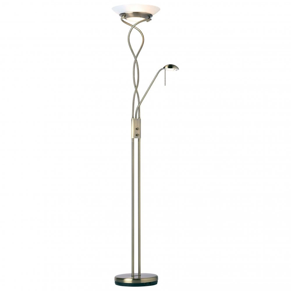 Endon lighting monaco mother and child floor lamp in for Mother and child floor lamp antique brass