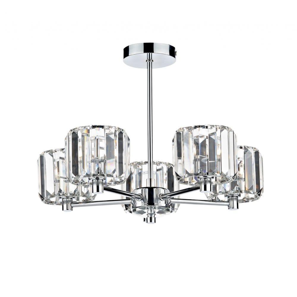 Dar Lighting Lakota 5 Light Semi Flush Ceiling Fitting With Crystal Glass Sha