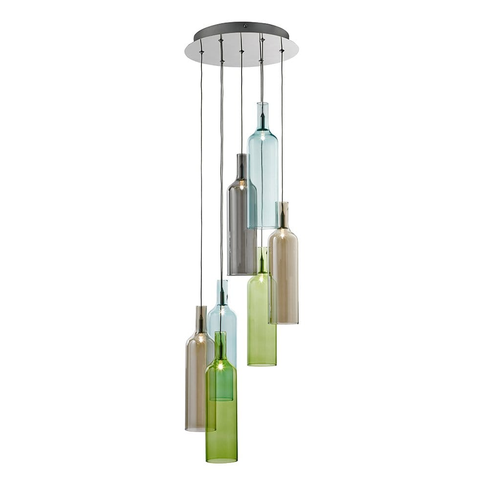 Searchlight lighting vibrant 7 light polished chrome ceiling pendant with wine bottle style - Wine bottle pendant light ...