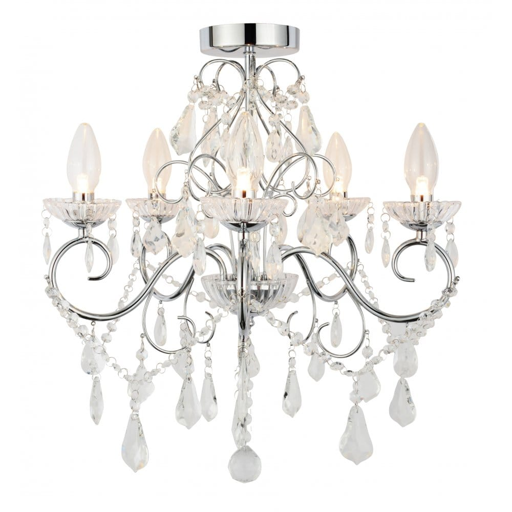 Forum lighting vela 5 light semi flush bathroom chandelier for Bathroom chandeliers