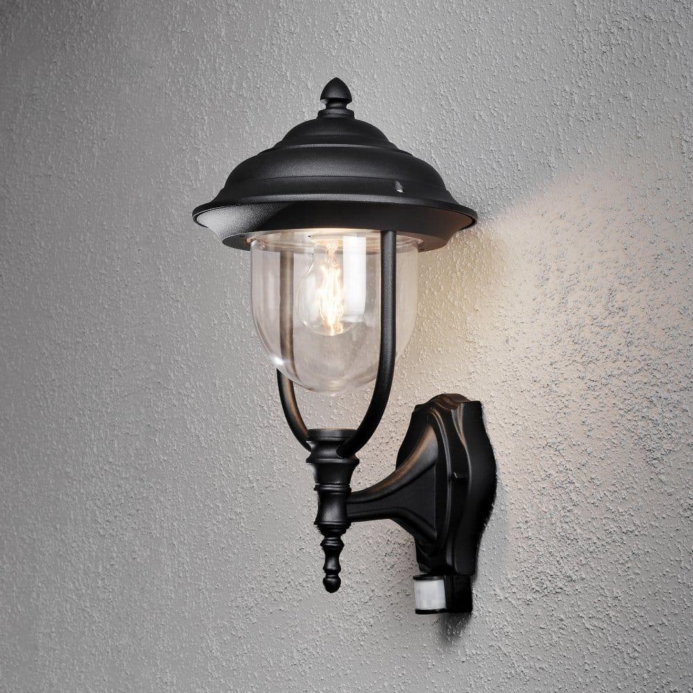 Lanark Outdoor Wall Light With Pir In Black : Konstsmide Parma Single Light Upward Outdoor Wall Lantern in Black with PIR Sensor - Konstsmide ...