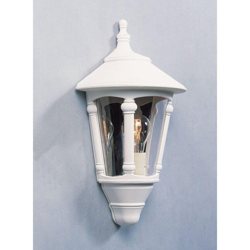 Konstsmide Virgo Single Light Outdoor Half Wall Lantern in Matt White - Konstsmide from ...